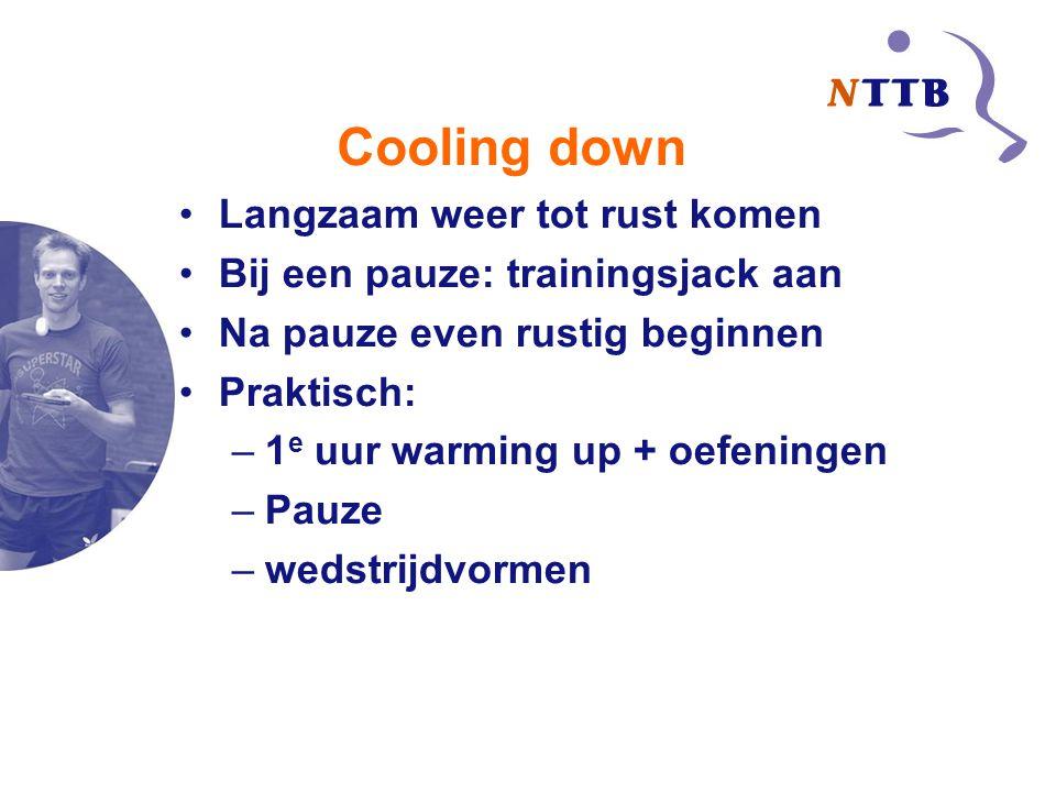 Cooling down Langzaam weer tot rust komen Bij een pauze: trainingsjack aan Na pauze even rustig beginnen Praktisch: –1 e uur warming up + oefeningen –