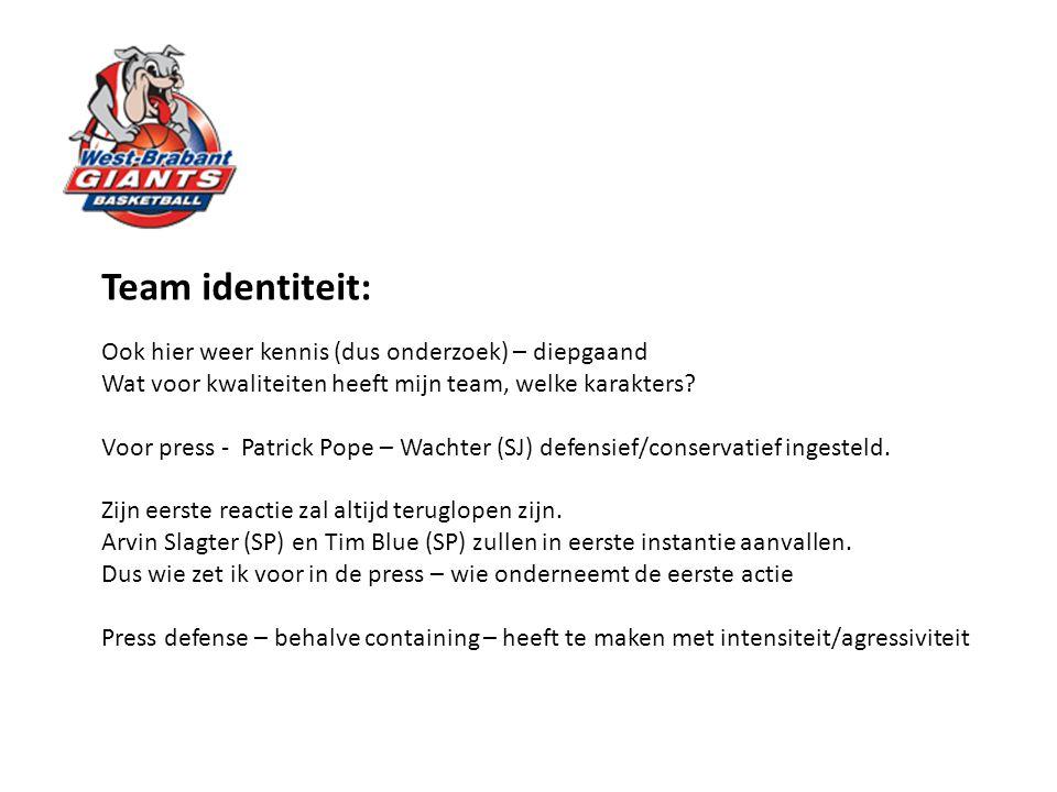 Team identiteit: Ook hier weer kennis (dus onderzoek) – diepgaand Wat voor kwaliteiten heeft mijn team, welke karakters? Voor press - Patrick Pope – W