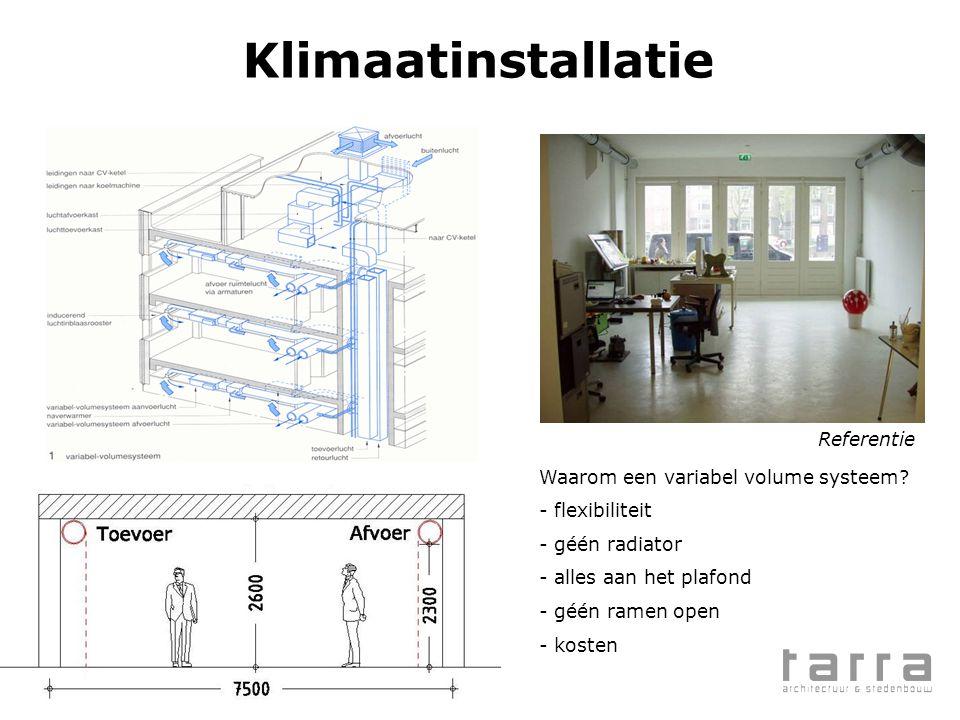 Klimaatinstallatie Referentie Waarom een variabel volume systeem? - flexibiliteit - géén radiator - alles aan het plafond - géén ramen open - kosten