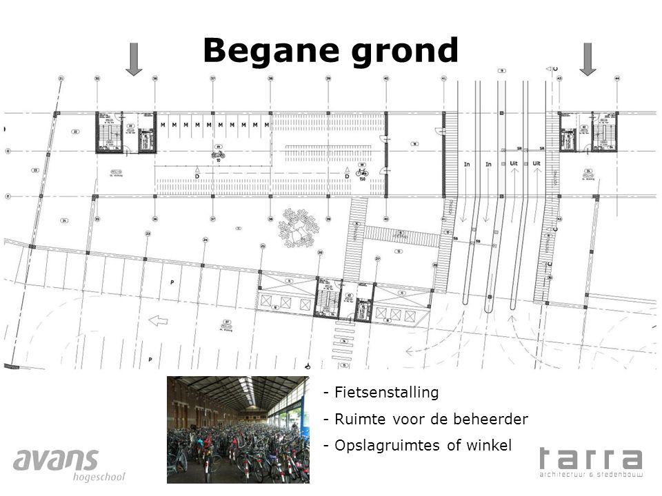 Begane grond - Fietsenstalling - Ruimte voor de beheerder - Opslagruimtes of winkel