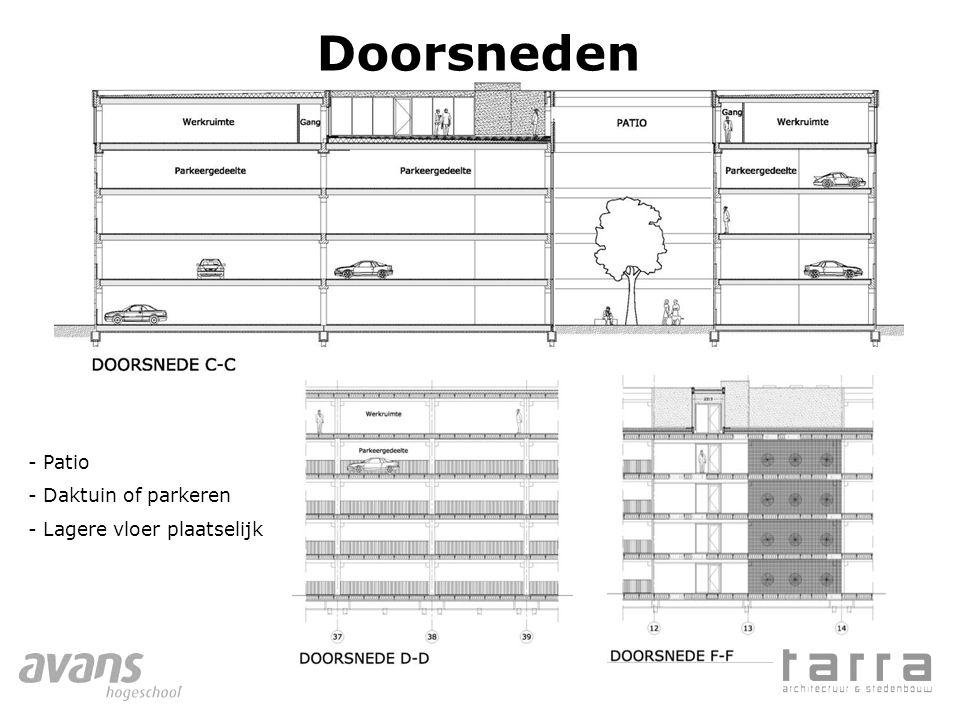 Doorsneden - Patio - Daktuin of parkeren - Lagere vloer plaatselijk