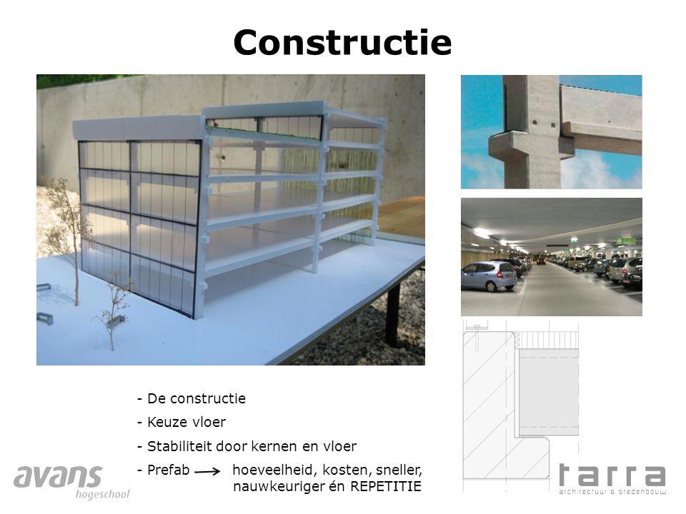 Constructie - De constructie - Keuze vloer - Stabiliteit door kernen en vloer - Prefab hoeveelheid, kosten, sneller, nauwkeuriger én REPETITIE