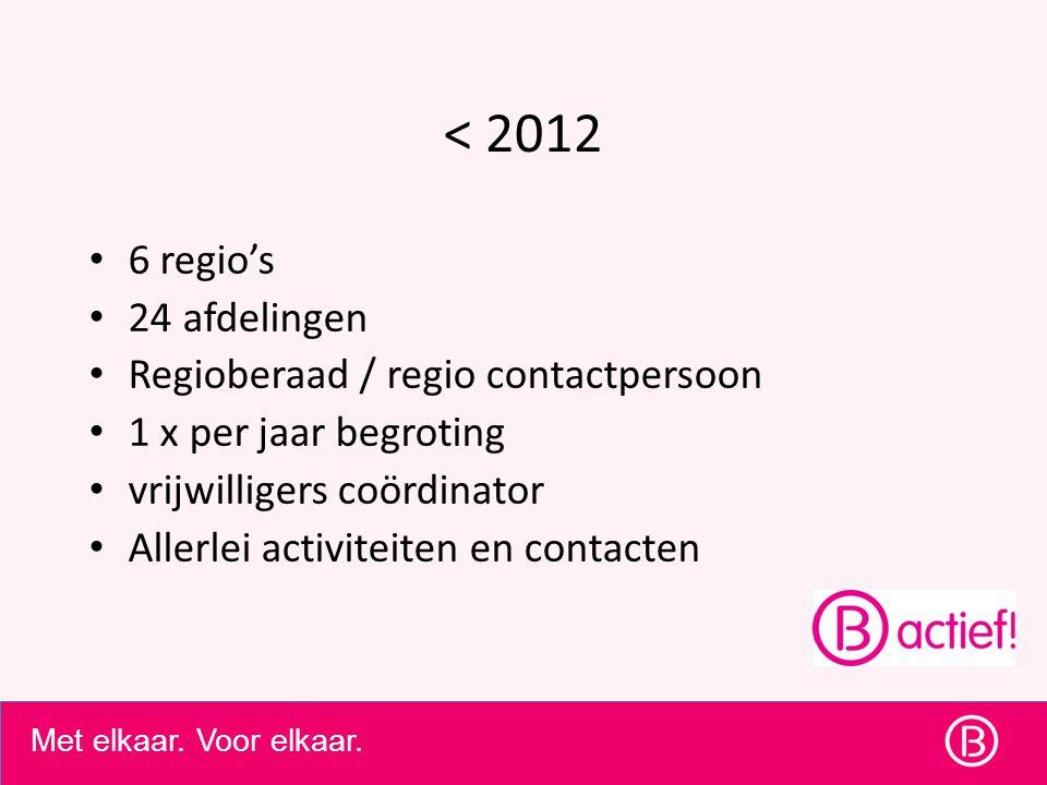 Met elkaar. Voor elkaar. < 2012 6 regio's 24 afdelingen Regioberaad / regio contactpersoon 1 x per jaar begroting vrijwilligers coördinator Allerlei a