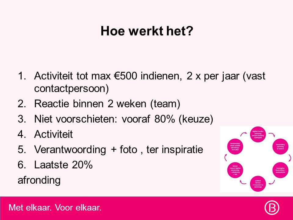 Met elkaar. Voor elkaar. Hoe werkt het? 1.Activiteit tot max €500 indienen, 2 x per jaar (vast contactpersoon) 2.Reactie binnen 2 weken (team) 3.Niet