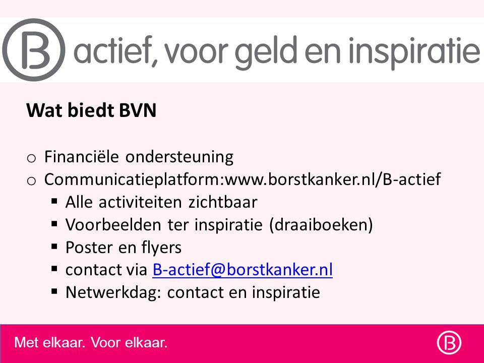 Wat biedt BVN o Financiële ondersteuning o Communicatieplatform:www.borstkanker.nl/B-actief  Alle activiteiten zichtbaar  Voorbeelden ter inspiratie
