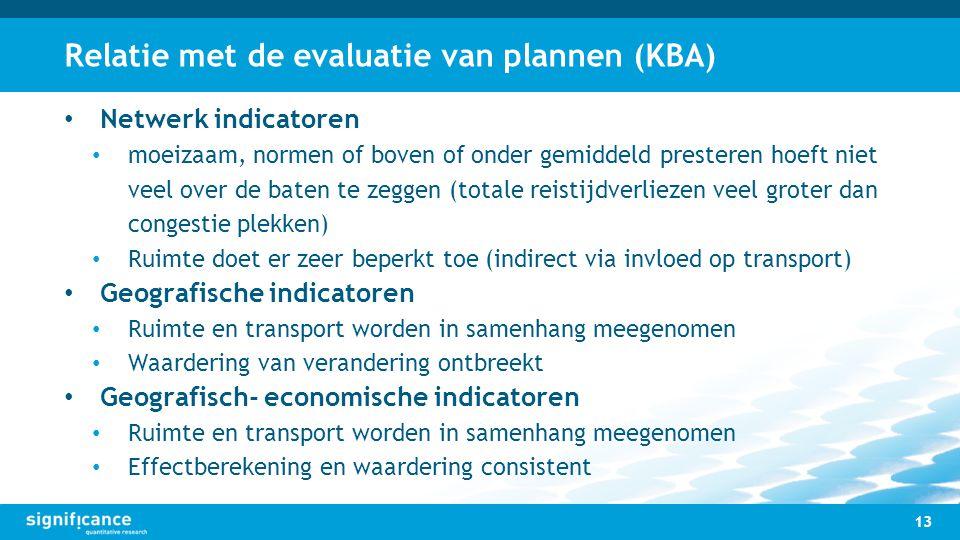 Relatie met de evaluatie van plannen (KBA) 13 Netwerk indicatoren moeizaam, normen of boven of onder gemiddeld presteren hoeft niet veel over de baten