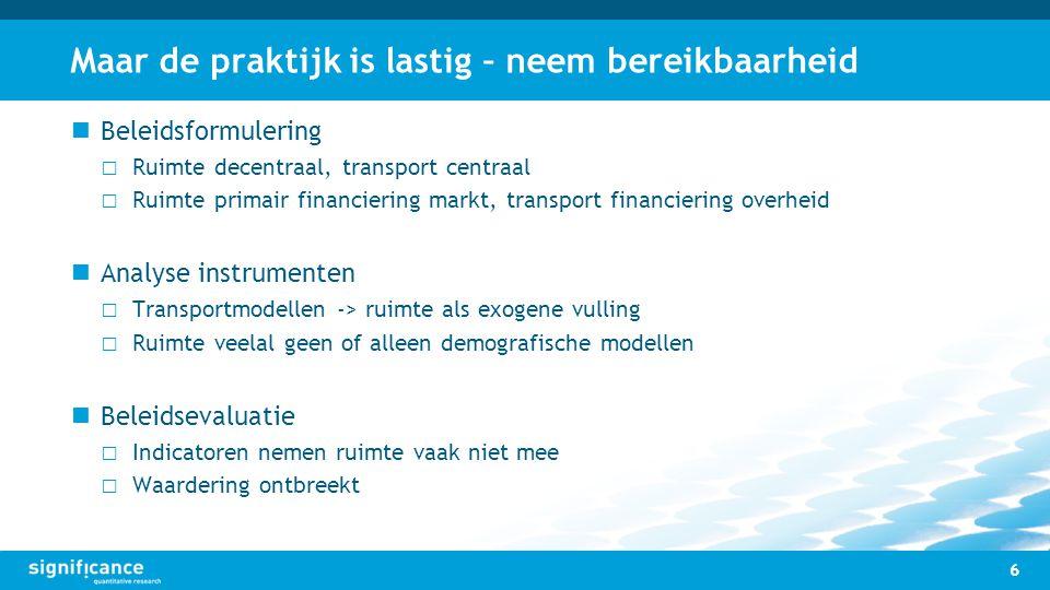 Maar de praktijk is lastig – neem bereikbaarheid Beleidsformulering □ Ruimte decentraal, transport centraal □ Ruimte primair financiering markt, trans