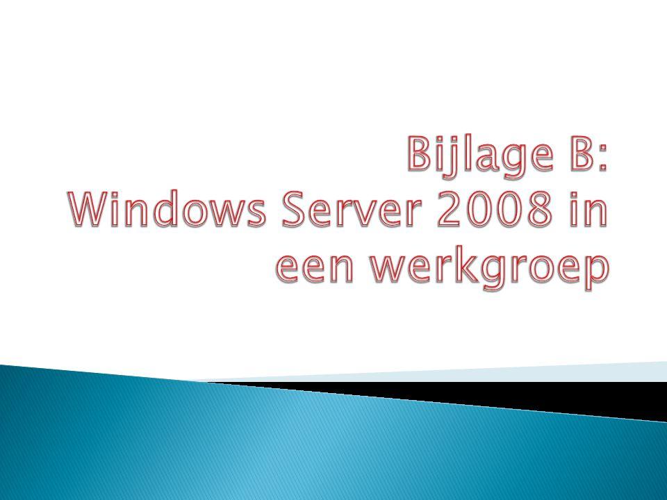  Een standalone server is een server die zelf geen domeincontroller is en geen lid is van een domein.