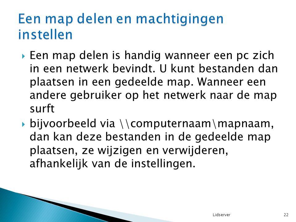  Een map delen is handig wanneer een pc zich in een netwerk bevindt. U kunt bestanden dan plaatsen in een gedeelde map. Wanneer een andere gebruiker