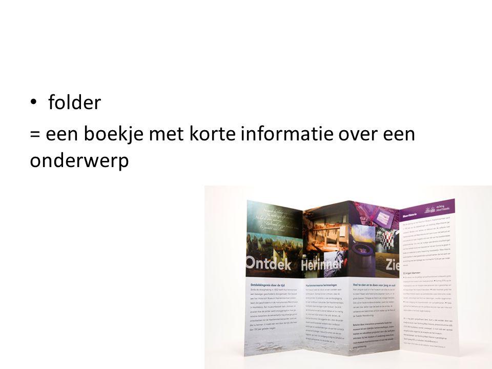 = een boekje met korte informatie over een onderwerp