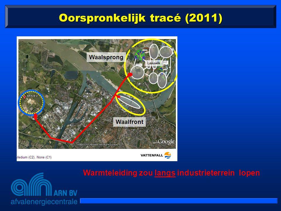 Oorspronkelijk tracé (2011) Warmteleiding zou langs industrieterrein lopen