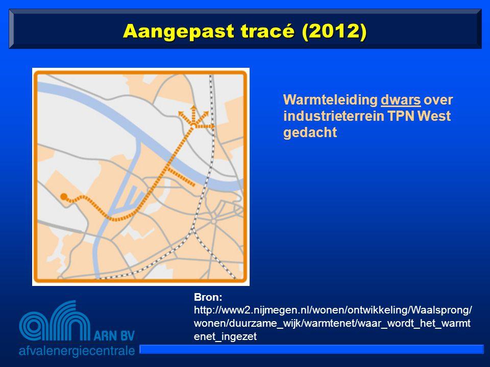 Aangepast tracé (2012) Warmteleiding dwars over industrieterrein TPN West gedacht Bron: http://www2.nijmegen.nl/wonen/ontwikkeling/Waalsprong/ wonen/d