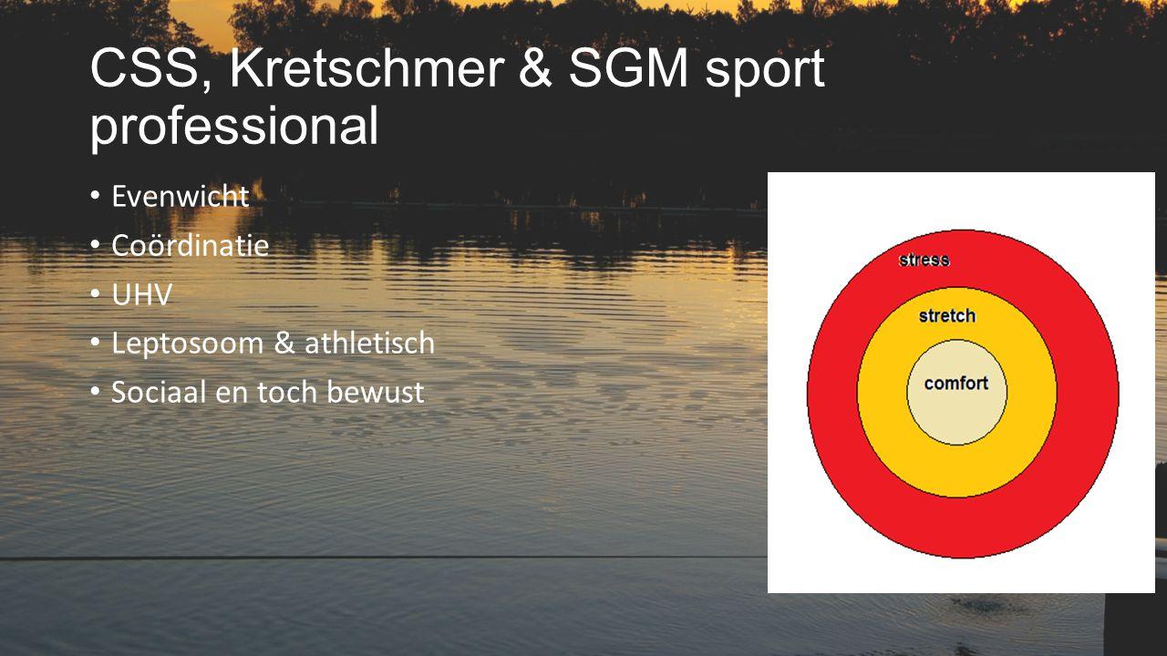 CSS, Kretschmer & SGM sport professional Evenwicht Coördinatie UHV Leptosoom & athletisch Sociaal en toch bewust