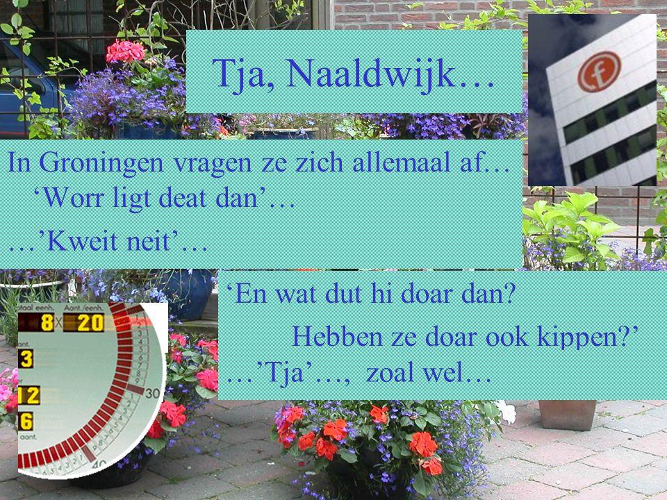 In Groningen vragen ze zich allemaal af… 'Worr ligt deat dan'… Tja, Naaldwijk… …'Kweit neit'… 'En wat dut hi doar dan? Hebben ze doar ook kippen?' …'T