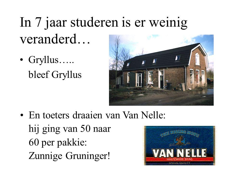 In 7 jaar studeren is er weinig veranderd… Gryllus….. bleef Gryllus En toeters draaien van Van Nelle: hij ging van 50 naar 60 per pakkie: Zunnige Grun