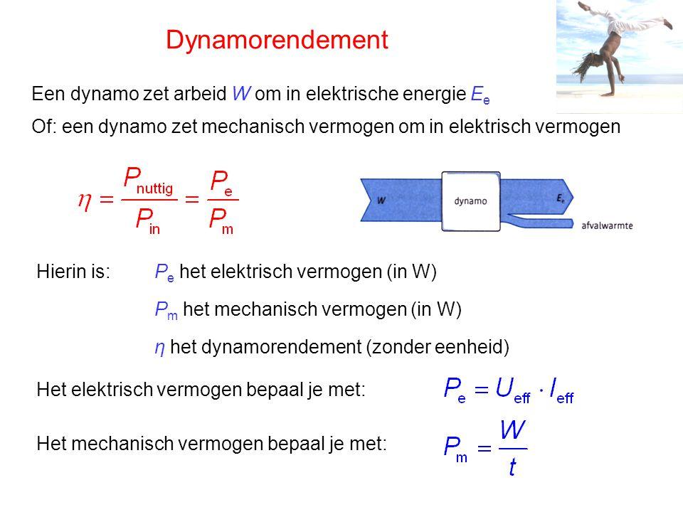 Dynamorendement Een dynamo zet arbeid W om in elektrische energie E e Of: een dynamo zet mechanisch vermogen om in elektrisch vermogen Hierin is:P e h
