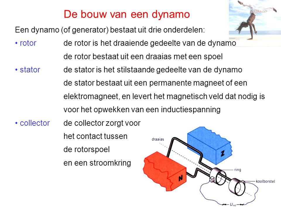 De bouw van een dynamo Een dynamo (of generator) bestaat uit drie onderdelen: rotor stator collector de rotor is het draaiende gedeelte van de dynamo