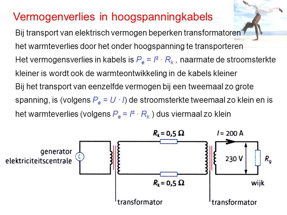 Vermogenverlies in hoogspanningkabels Bij transport van elektrisch vermogen beperken transformatoren het warmteverlies door het onder hoogspanning te