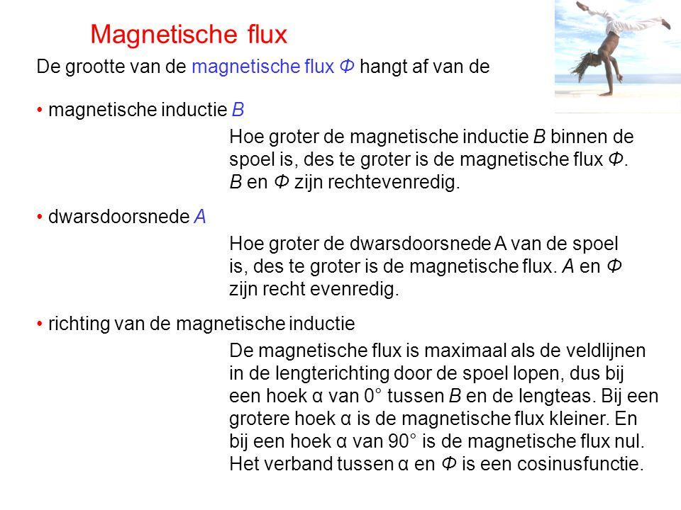 Magnetische flux In een homogeen magnetisch veld is de magnetische flux binnen een spoel te berekenen met de formule: In de formule is: Φ de magnetische flux (in Wb of Tm²) B de magnetische inductie (in T) A de dwarsdoorsnede (in m²) α de hoek tussen de magnetische inductie en de lengteas van de spoel B n is de component loodrecht op de dwarsdoorsnede van de spoel