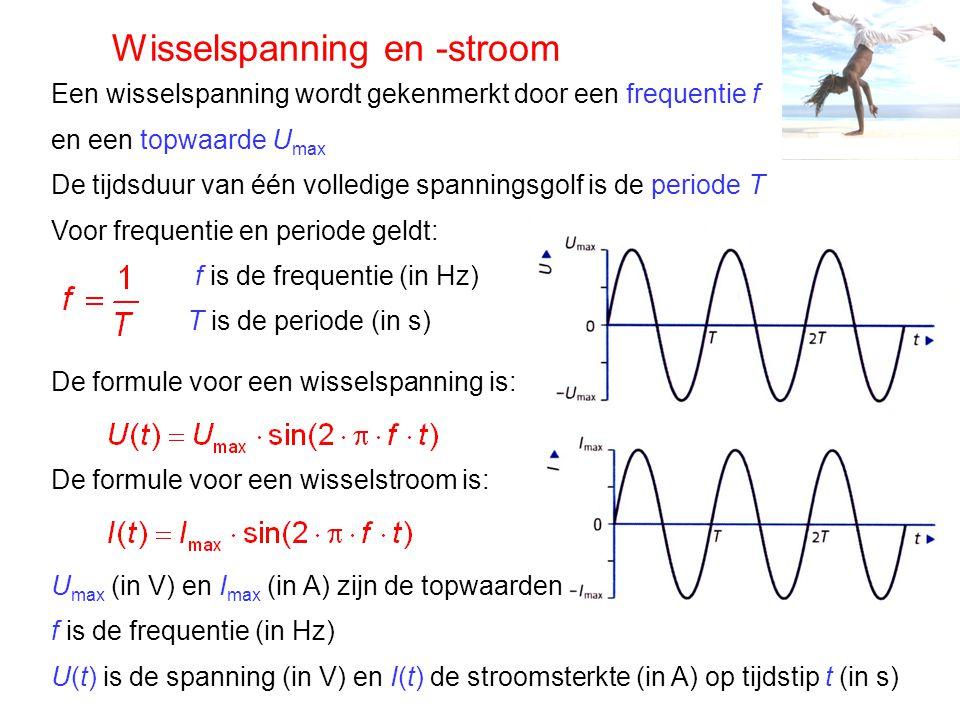 Wisselspanning en -stroom Een wisselspanning wordt gekenmerkt door een frequentie f en een topwaarde U max De tijdsduur van één volledige spanningsgol