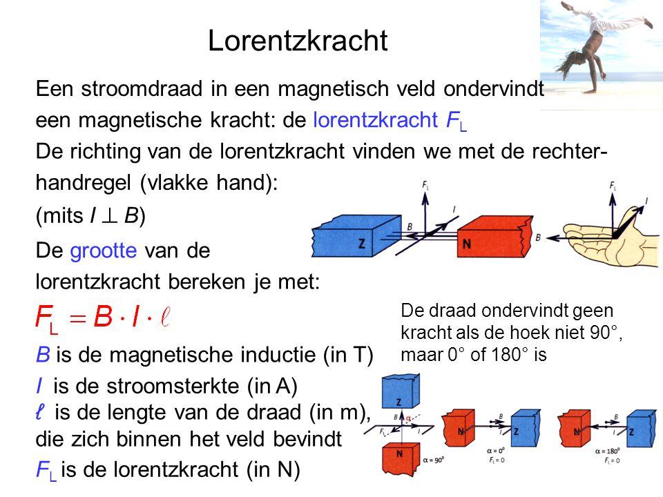 Lorentzkracht Een stroomdraad in een magnetisch veld ondervindt een magnetische kracht: de lorentzkracht F L De richting van de lorentzkracht vinden we met de rechter- handregel (vlakke hand): (mits I ⊥ B) De grootte van de lorentzkracht bereken je met: F L is de lorentzkracht (in N) B is de magnetische inductie (in T) I is de stroomsterkte (in A) ℓ is de lengte van de draad (in m), die zich binnen het veld bevindt De draad ondervindt geen kracht als de hoek niet 90°, maar 0° of 180° is