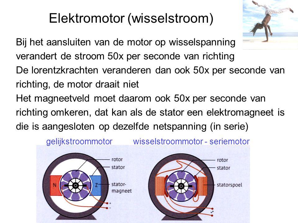 Elektromotor (wisselstroom) Bij het aansluiten van de motor op wisselspanning verandert de stroom 50x per seconde van richting De lorentzkrachten veranderen dan ook 50x per seconde van richting, de motor draait niet Het magneetveld moet daarom ook 50x per seconde van richting omkeren, dat kan als de stator een elektromagneet is die is aangesloten op dezelfde netspanning (in serie) gelijkstroommotorwisselstroommotor - seriemotor