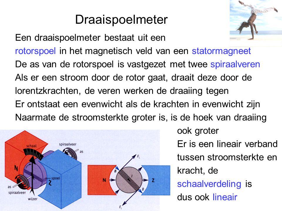 Draaispoelmeter Een draaispoelmeter bestaat uit een rotorspoel in het magnetisch veld van een statormagneet De as van de rotorspoel is vastgezet met twee spiraalveren Als er een stroom door de rotor gaat, draait deze door de lorentzkrachten, de veren werken de draaiing tegen Er ontstaat een evenwicht als de krachten in evenwicht zijn Naarmate de stroomsterkte groter is, is de hoek van draaiing ook groter Er is een lineair verband tussen stroomsterkte en kracht, de schaalverdeling is dus ook lineair