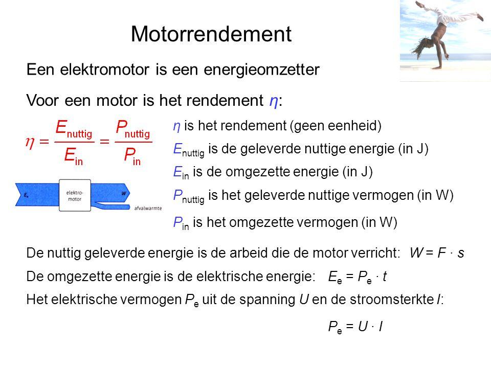 Motorrendement Een elektromotor is een energieomzetter Voor een motor is het rendement η: η is het rendement (geen eenheid) E nuttig is de geleverde nuttige energie (in J) E in is de omgezette energie (in J) P nuttig is het geleverde nuttige vermogen (in W) P in is het omgezette vermogen (in W) De nuttig geleverde energie is de arbeid die de motor verricht:W = F · s De omgezette energie is de elektrische energie:E e = P e · t Het elektrische vermogen P e uit de spanning U en de stroomsterkte I: P e = U · I