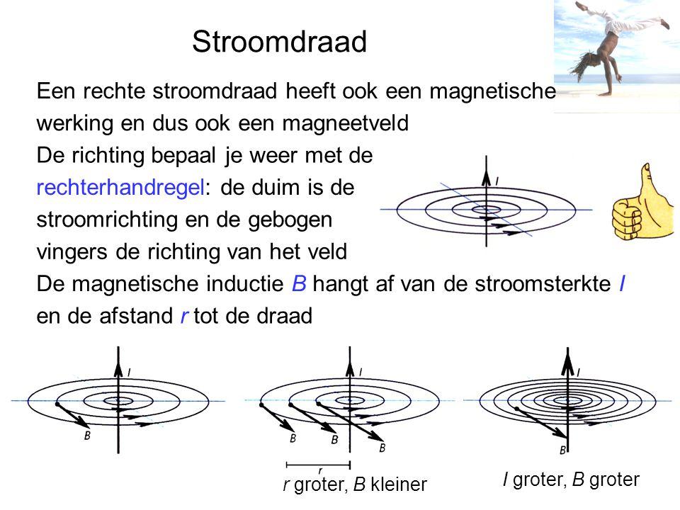 Stroomdraad Een rechte stroomdraad heeft ook een magnetische werking en dus ook een magneetveld De richting bepaal je weer met de rechterhandregel: de duim is de stroomrichting en de gebogen vingers de richting van het veld De magnetische inductie B hangt af van de stroomsterkte I en de afstand r tot de draad r groter, B kleiner I groter, B groter