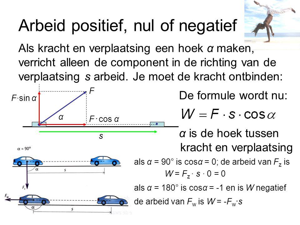Arbeid positief, nul of negatief Als kracht en verplaatsing een hoek α maken, verricht alleen de component in de richting van de verplaatsing s arbeid