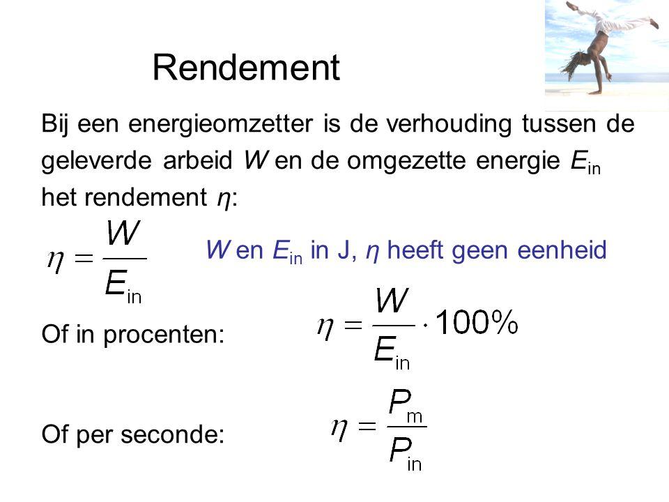 Rendement Bij een energieomzetter is de verhouding tussen de geleverde arbeid W en de omgezette energie E in het rendement η: W en E in in J, η heeft