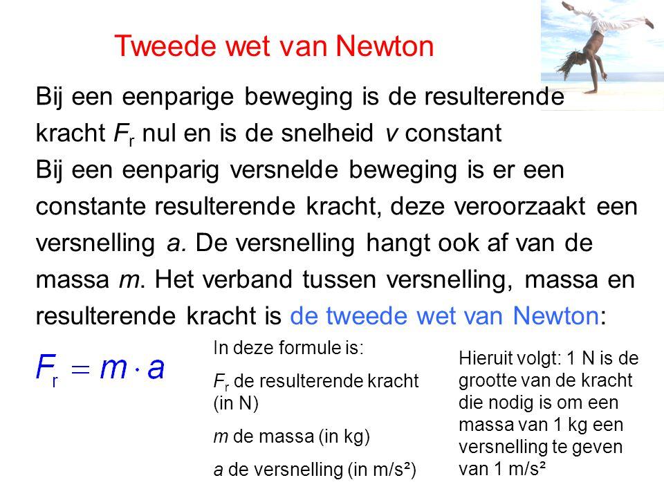Tweede wet van Newton Bij een eenparige beweging is de resulterende kracht F r nul en is de snelheid v constant Bij een eenparig versnelde beweging is er een constante resulterende kracht, deze veroorzaakt een versnelling a.