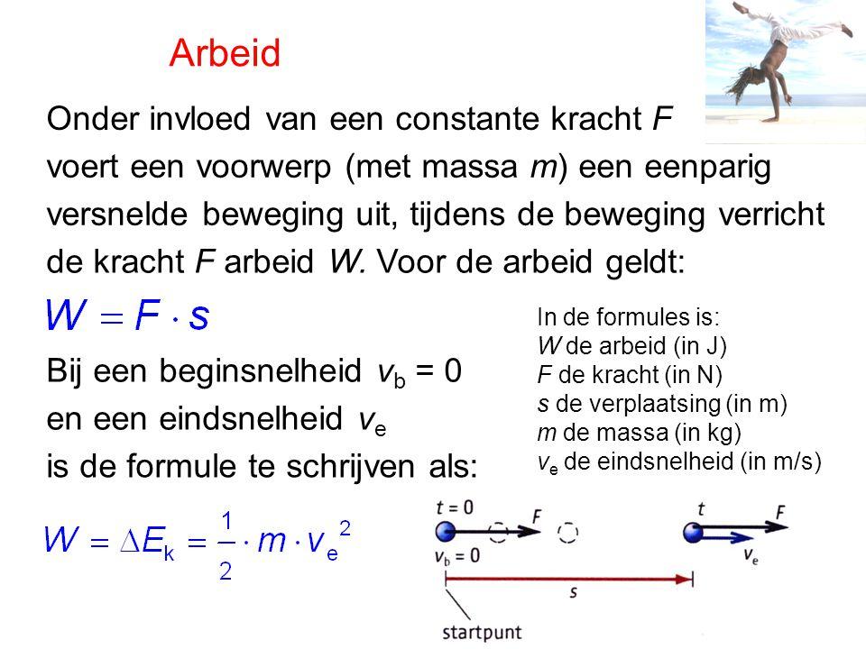 Arbeid Onder invloed van een constante kracht F voert een voorwerp (met massa m) een eenparig versnelde beweging uit, tijdens de beweging verricht de