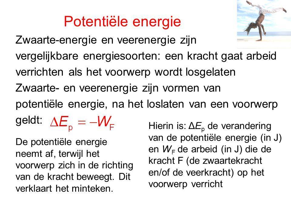 Potentiële energie Zwaarte-energie en veerenergie zijn vergelijkbare energiesoorten: een kracht gaat arbeid verrichten als het voorwerp wordt losgelaten Zwaarte- en veerenergie zijn vormen van potentiële energie, na het loslaten van een voorwerp geldt: Hierin is: ΔE p de verandering van de potentiële energie (in J) en W F de arbeid (in J) die de kracht F (de zwaartekracht en/of de veerkracht) op het voorwerp verricht De potentiële energie neemt af, terwijl het voorwerp zich in de richting van de kracht beweegt.