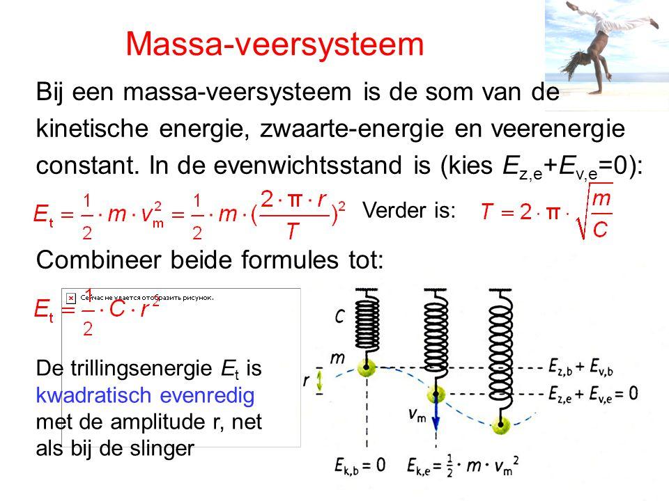 Massa-veersysteem Bij een massa-veersysteem is de som van de kinetische energie, zwaarte-energie en veerenergie constant.