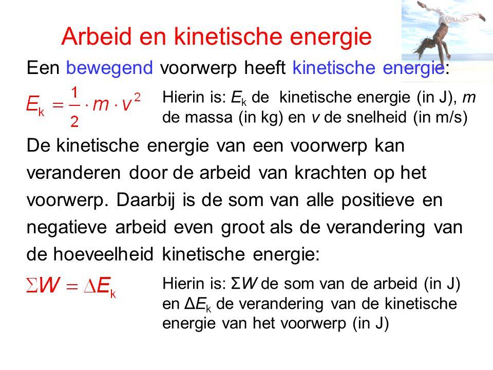 Arbeid en kinetische energie Een bewegend voorwerp heeft kinetische energie: Hierin is: E k de kinetische energie (in J), m de massa (in kg) en v de snelheid (in m/s) De kinetische energie van een voorwerp kan veranderen door de arbeid van krachten op het voorwerp.