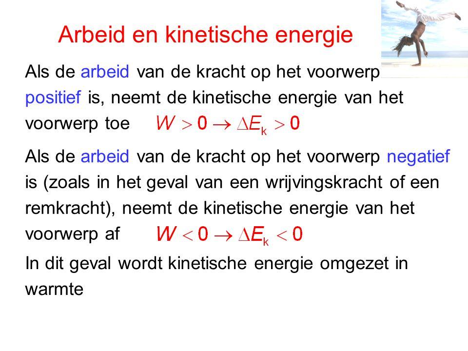 Arbeid en kinetische energie Als de arbeid van de kracht op het voorwerp positief is, neemt de kinetische energie van het voorwerp toe Als de arbeid van de kracht op het voorwerp negatief is (zoals in het geval van een wrijvingskracht of een remkracht), neemt de kinetische energie van het voorwerp af In dit geval wordt kinetische energie omgezet in warmte