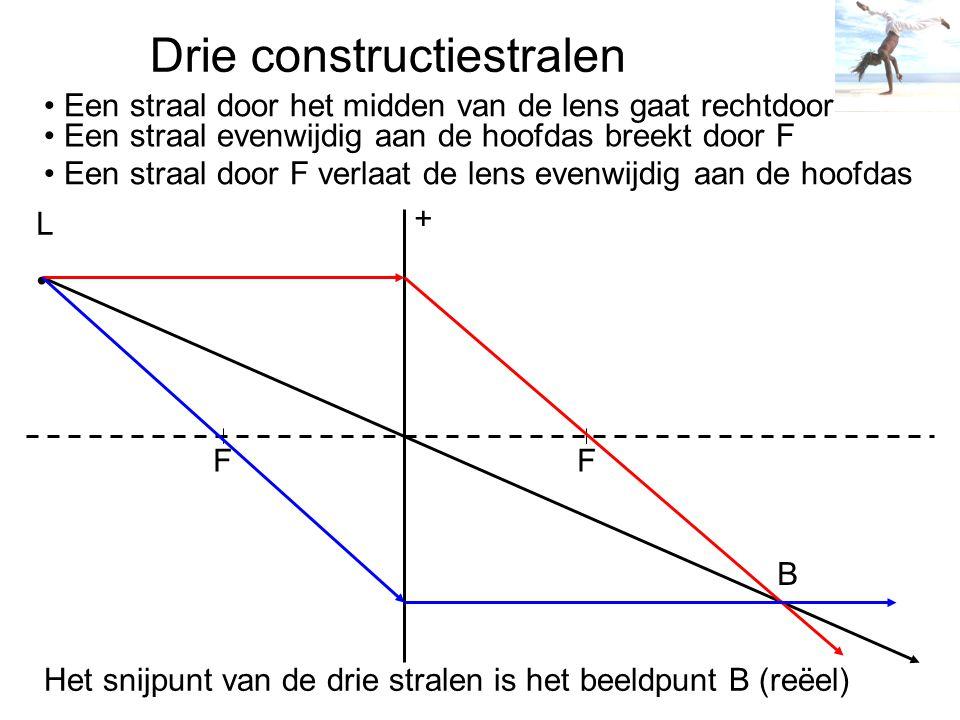Drie constructiestralen + F F L Een straal door het midden van de lens gaat rechtdoor Een straal evenwijdig aan de hoofdas breekt door F Een straal do