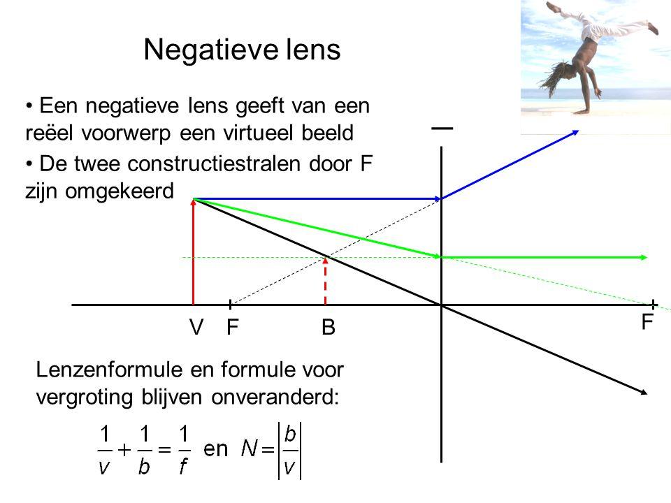 Negatieve lens F F _ Een negatieve lens geeft van een reëel voorwerp een virtueel beeld De twee constructiestralen door F zijn omgekeerd Lenzenformule