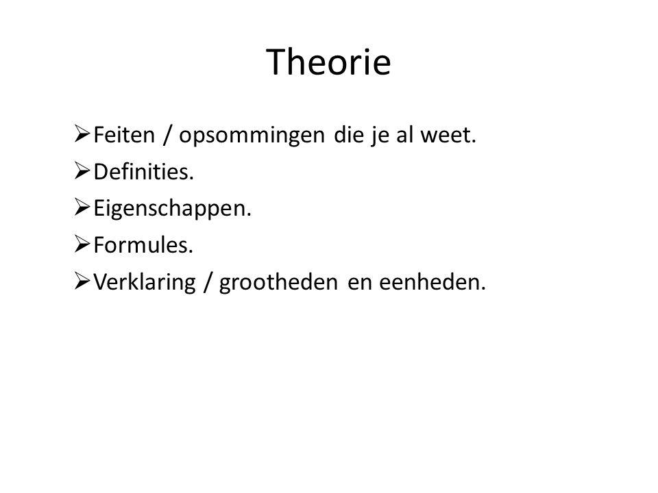 Theorie  Feiten / opsommingen die je al weet.  Definities.  Eigenschappen.  Formules.  Verklaring / grootheden en eenheden.