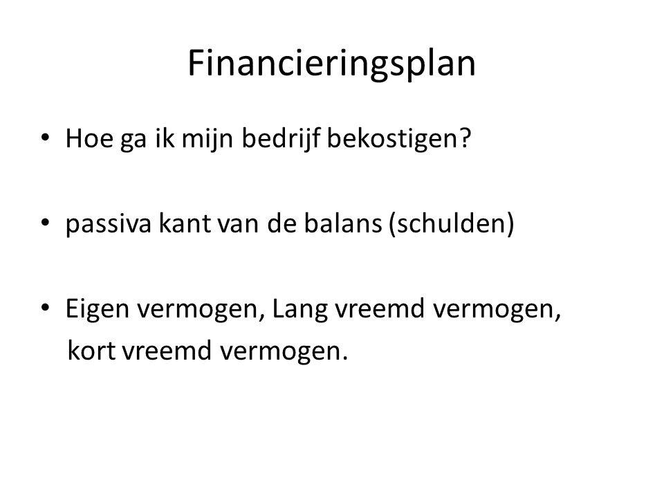 Financieringsplan Hoe ga ik mijn bedrijf bekostigen? passiva kant van de balans (schulden) Eigen vermogen, Lang vreemd vermogen, kort vreemd vermogen.