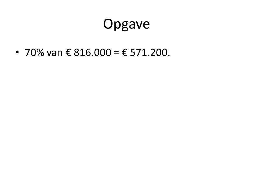 Opgave 70% van € 816.000 = € 571.200.