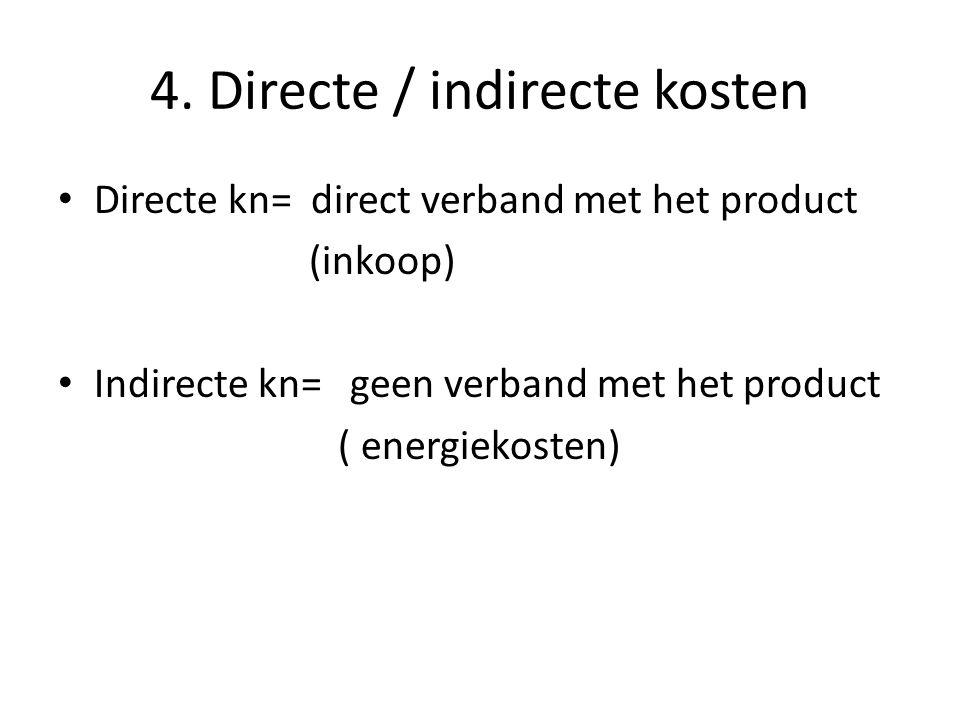 4. Directe / indirecte kosten Directe kn= direct verband met het product (inkoop) Indirecte kn= geen verband met het product ( energiekosten)