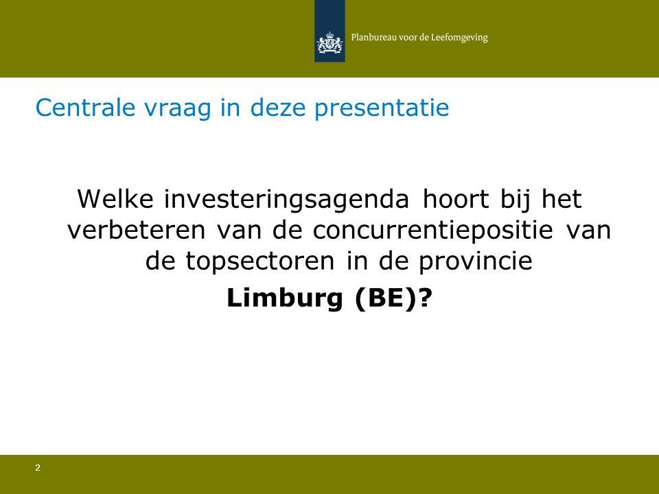 Centrale vraag in deze presentatie 2 Welke investeringsagenda hoort bij het verbeteren van de concurrentiepositie van de topsectoren in de provincie Limburg (BE)
