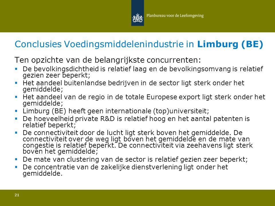 Conclusies Voedingsmiddelenindustrie in Limburg (BE) 21 Ten opzichte van de belangrijkste concurrenten:  De bevolkingsdichtheid is relatief laag en de bevolkingsomvang is relatief gezien zeer beperkt; Het aandeel buitenlandse bedrijven in de sector ligt sterk onder het gemiddelde; Het aandeel van de regio in de totale Europese export ligt sterk onder het gemiddelde; Limburg (BE) heeft geen internationale (top)universiteit; De hoeveelheid private R&D is relatief hoog en het aantal patenten is relatief beperkt; De connectiviteit door de lucht ligt sterk boven het gemiddelde.