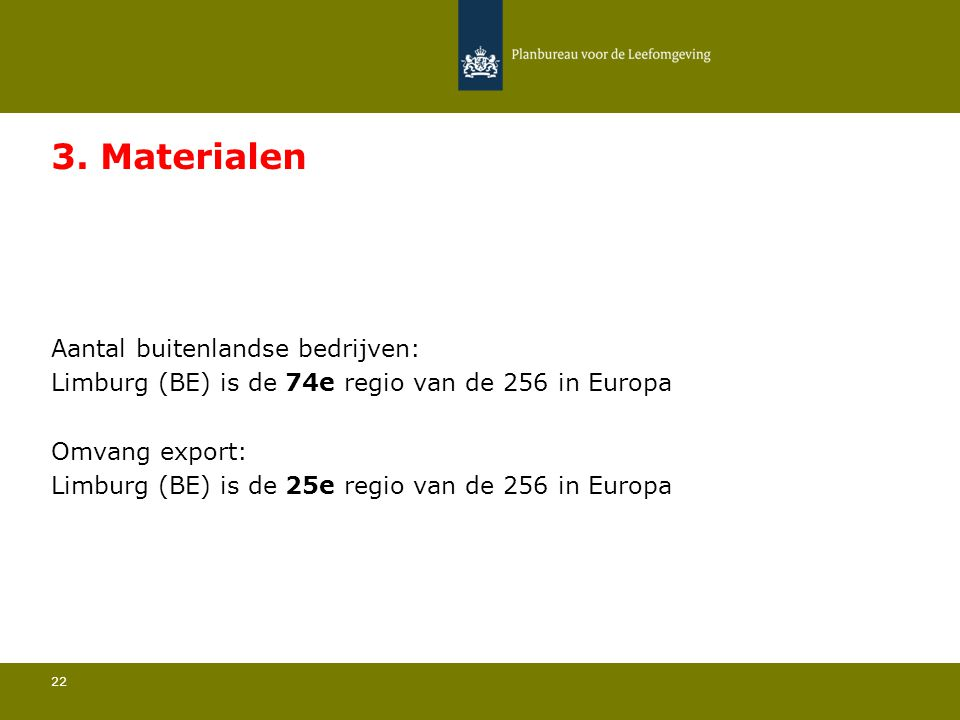Aantal buitenlandse bedrijven: Limburg (BE) is de 74e regio van de 256 in Europa 22 3. Materialen Omvang export: Limburg (BE) is de 25e regio van de 2
