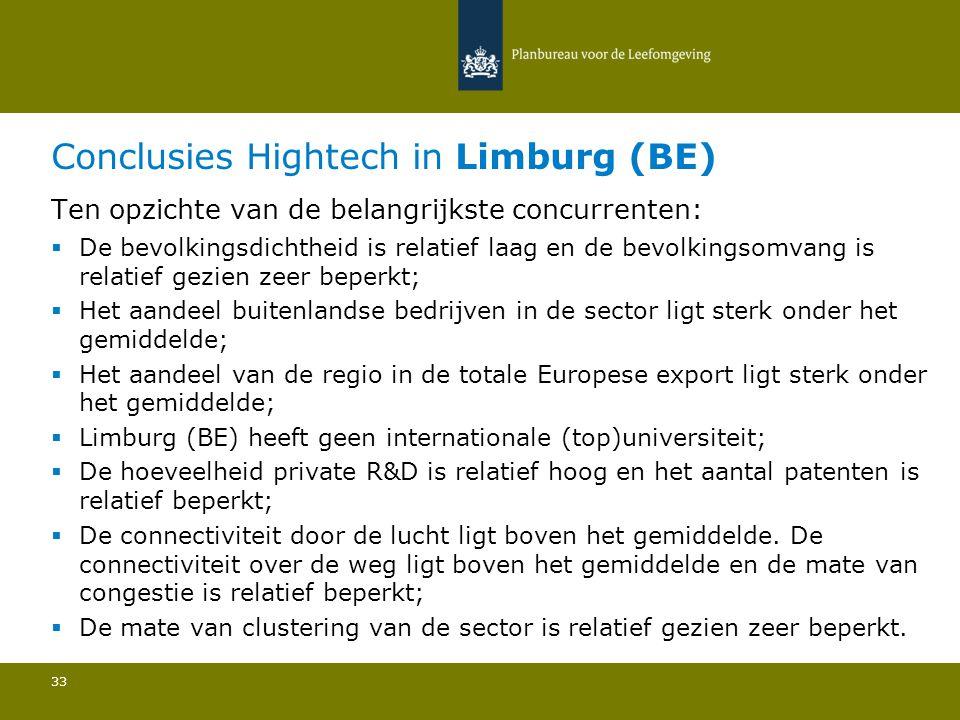 Conclusies Hightech in Limburg (BE) 33 Ten opzichte van de belangrijkste concurrenten:  De bevolkingsdichtheid is relatief laag en de bevolkingsomvang is relatief gezien zeer beperkt; Het aandeel buitenlandse bedrijven in de sector ligt sterk onder het gemiddelde; Het aandeel van de regio in de totale Europese export ligt sterk onder het gemiddelde; Limburg (BE) heeft geen internationale (top)universiteit; De hoeveelheid private R&D is relatief hoog en het aantal patenten is relatief beperkt; De connectiviteit door de lucht ligt boven het gemiddelde.