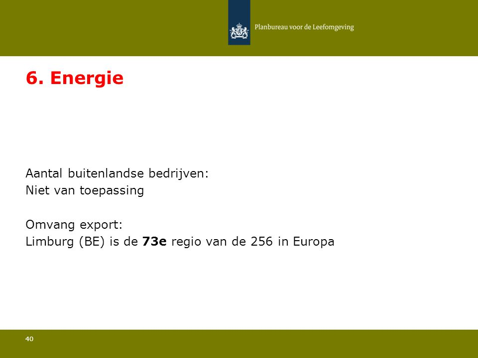 Aantal buitenlandse bedrijven: Niet van toepassing 40 6. Energie Omvang export: Limburg (BE) is de 73e regio van de 256 in Europa