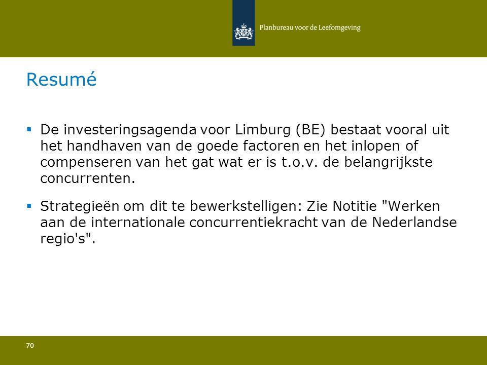  De investeringsagenda voor Limburg (BE) bestaat vooral uit het handhaven van de goede factoren en het inlopen of compenseren van het gat wat er is t