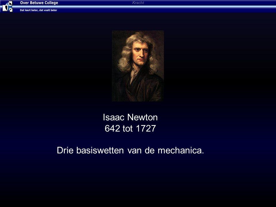 Kracht Isaac Newton 642 tot 1727 Drie basiswetten van de mechanica.